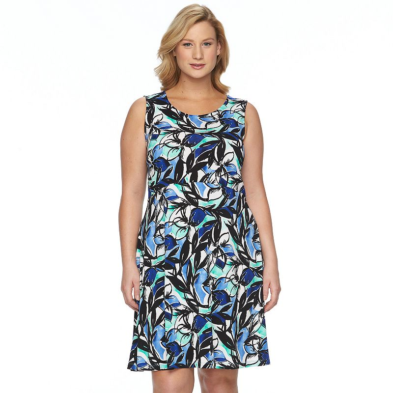 Plus Size Apt. 9® Printed Fit & Flare Dress