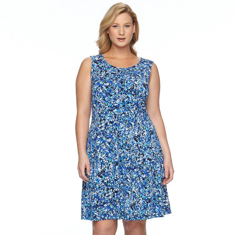 Plus Size Apt. 9® Printed Fit & Flare Dress