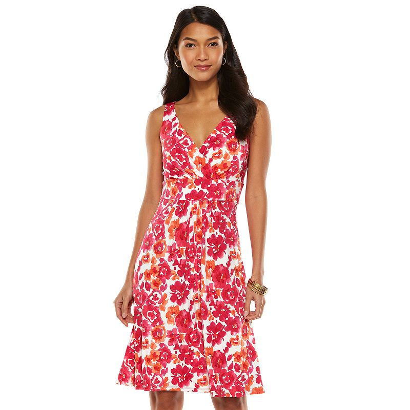 Petite Printed Surplice Empire Dress