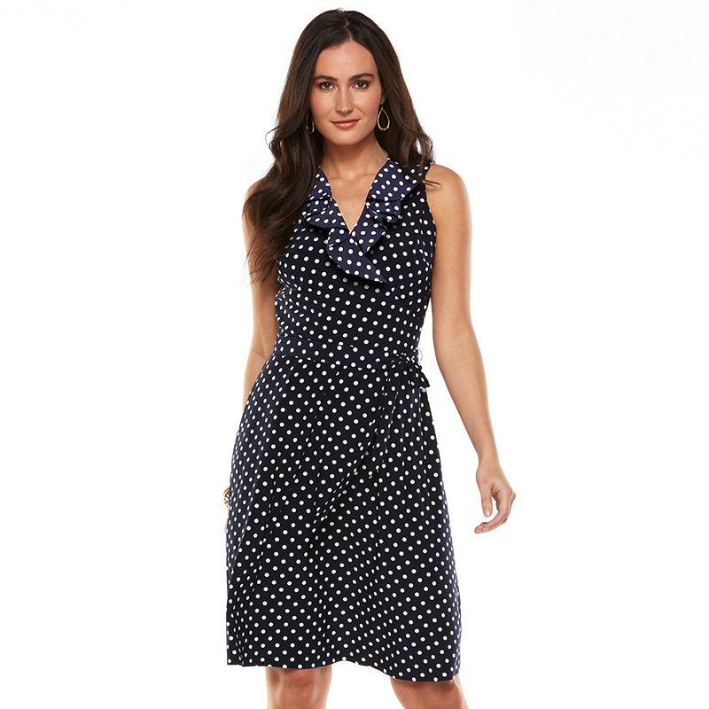 Petite Chaps Polka-Dot Surplice Dress