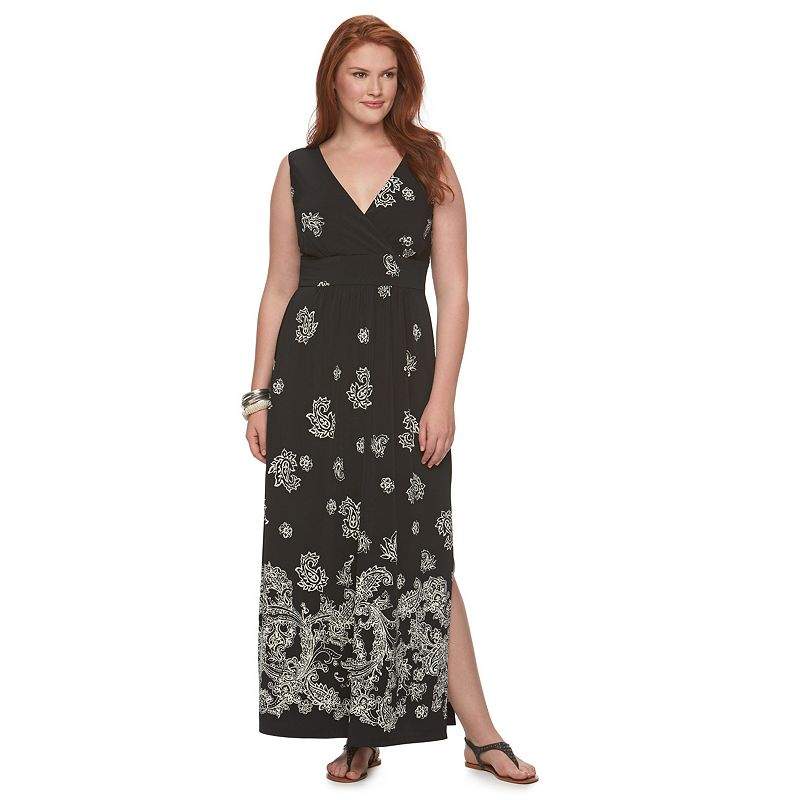 Plus Size Chaps Paisley Empire Maxi Dress