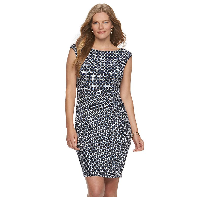 Plus Size Chaps Geometric Pleated Sheath Dress