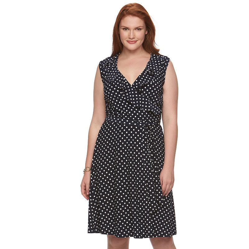 Plus Size Chaps Polka-Dot Faux-Wrap Dress
