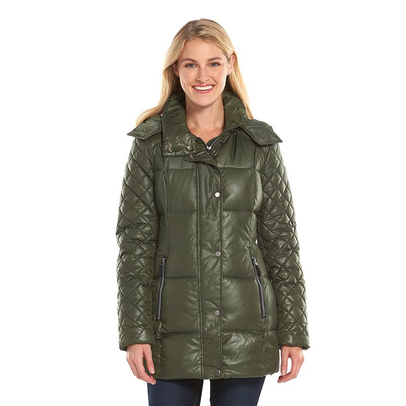 Women's AM Studio by Andrew Marc Hooded Down Puffer Jacket
