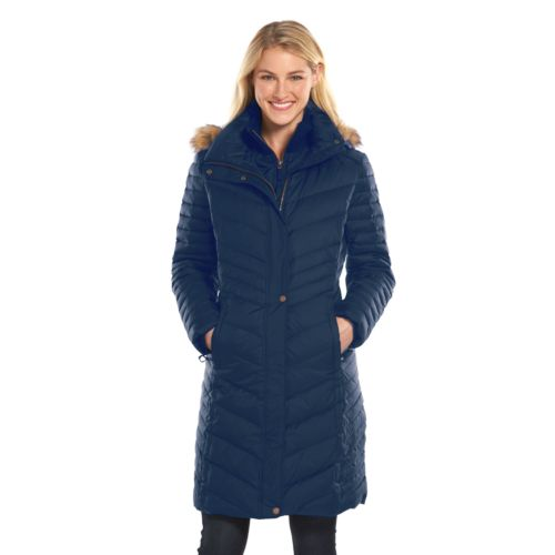 Women's AM Studio by Andrew Marc Hooded Down Long Puffer Jacket