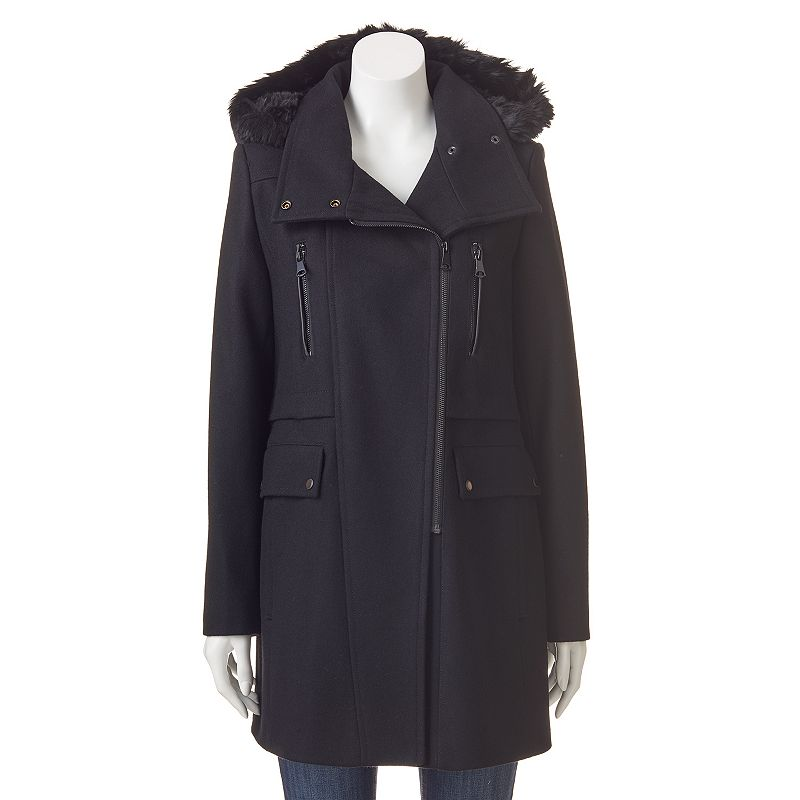 Women's AM Studio by Andrew Marc Hooded Wool Blend Coat