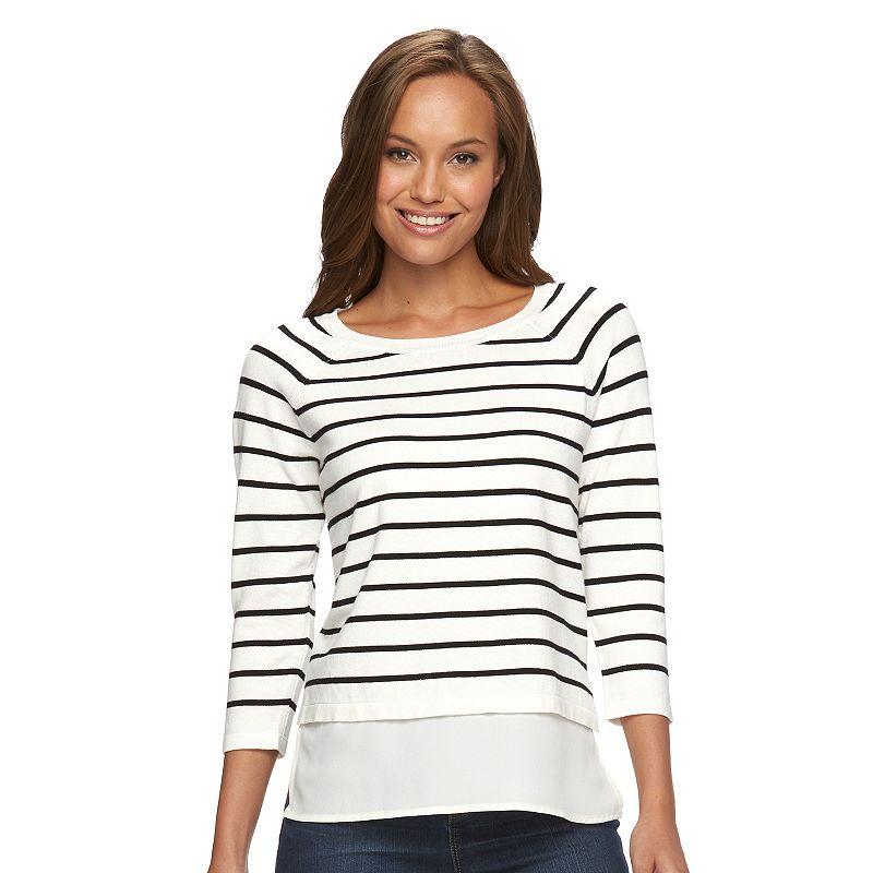 Petite Apt. 9® Mock-Layer Crewneck Sweater