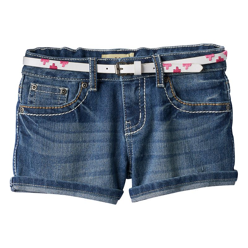 Girls 7-16 & Plus Size Mudd® Whiskered Roll Cuff Denim Shorts