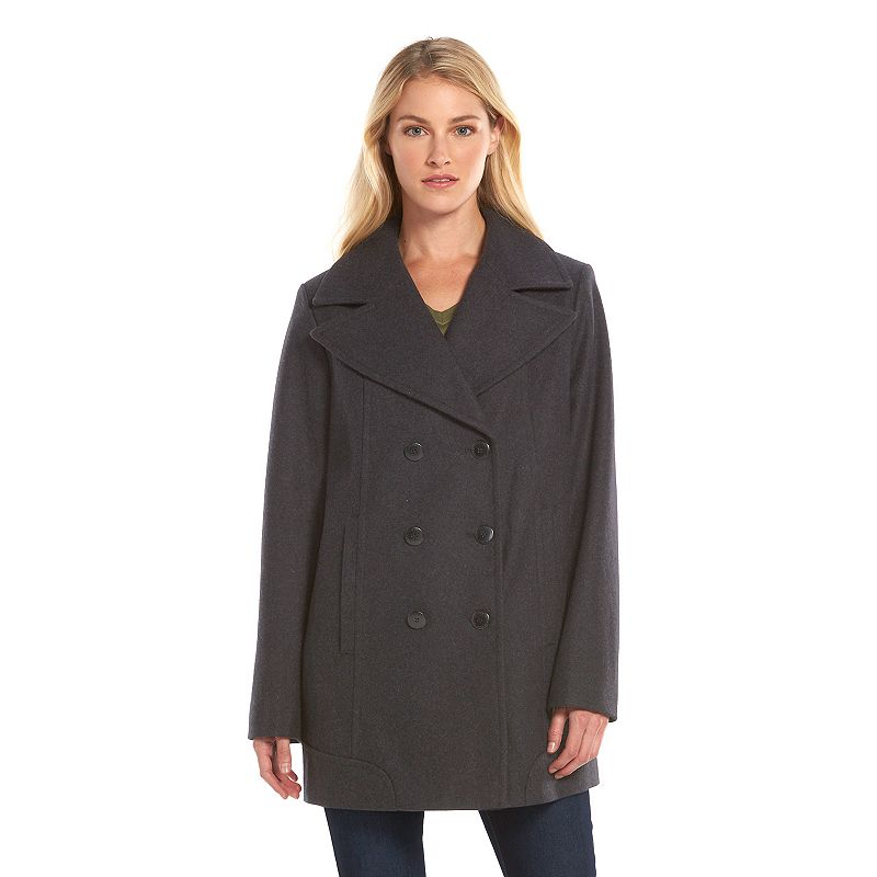 Women's AM Studio by Andrew Marc Double-Breasted Wool-Blend Peacoat