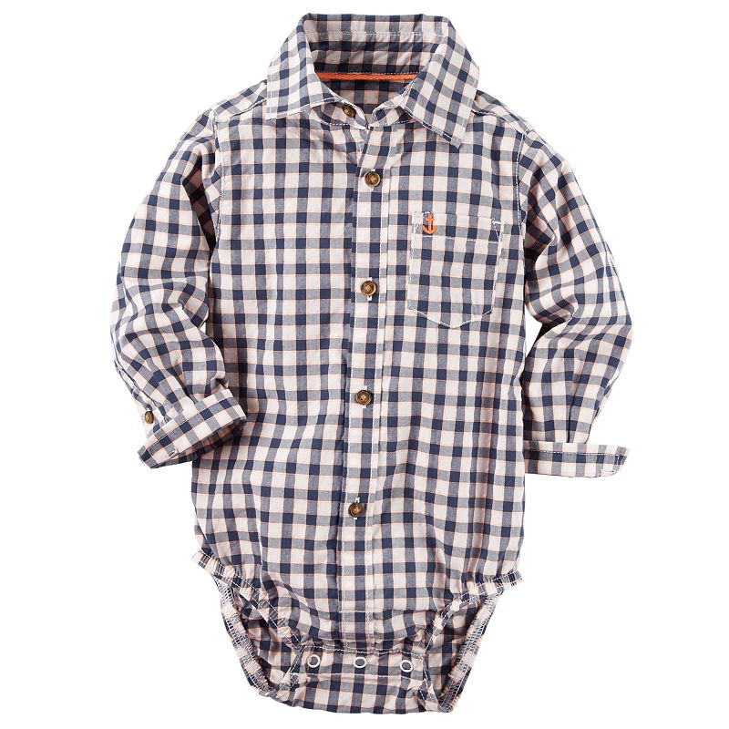 Baby Boy Carter's Plaid Button-Down Bodysuit
