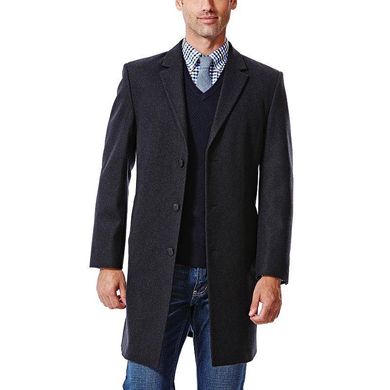 Big & Tall Haggar® Modern-Fit Melton Wool-Blend Coat
