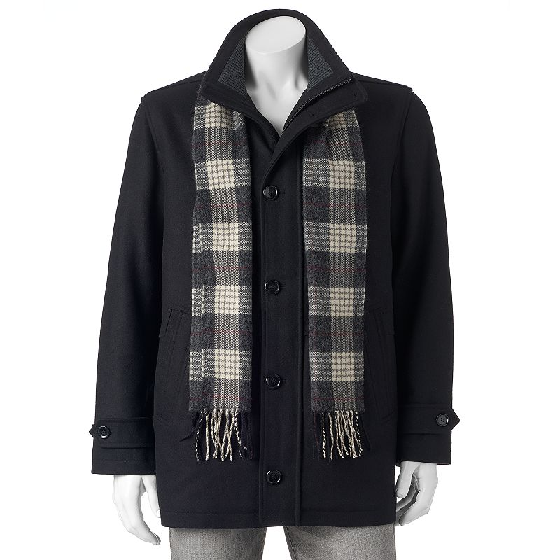 Big & Tall Towne Car Coat With Plaid Scarf