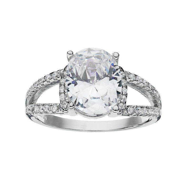 Cubic Zirconia Sterling Silver Oval Ring