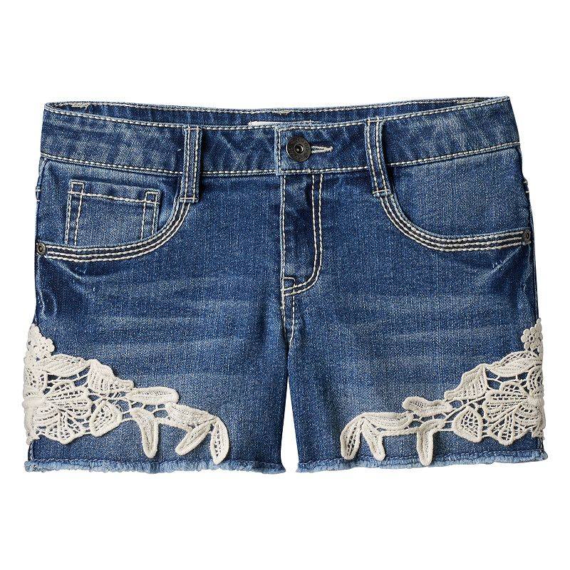 Girls 7-16 & Plus Size Mudd® Crochet Denim Shorts