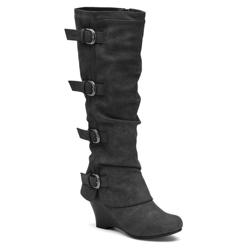 unionbay ruth s buckled wedge boots gray
