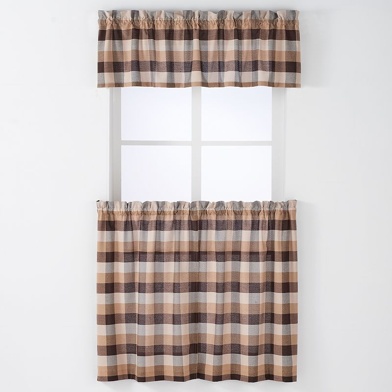 Arlee 3-pc. Nottingham Plaid Woven Rod Pocket Curtain and Valance Set