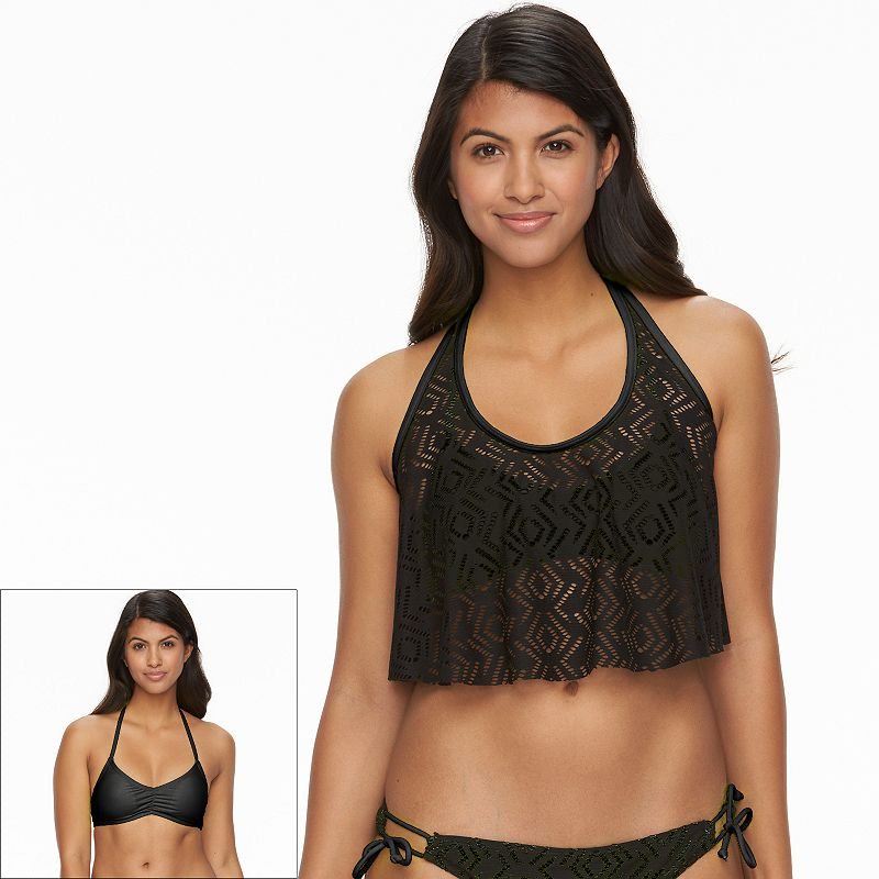 Juniors' SO® Crochet Flounce Bikini Top
