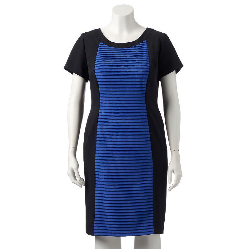Plus Size Suite 7 Striped Mesh Sheath Dress