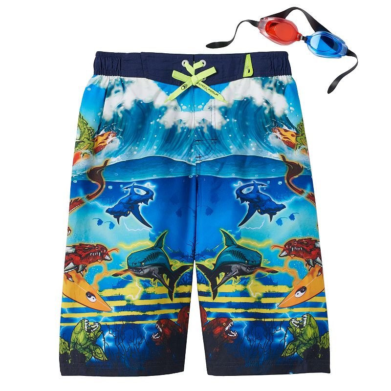 Boys 8-20 ZeroXposur 3D Dragon Surfer Swim Shorts With Goggles