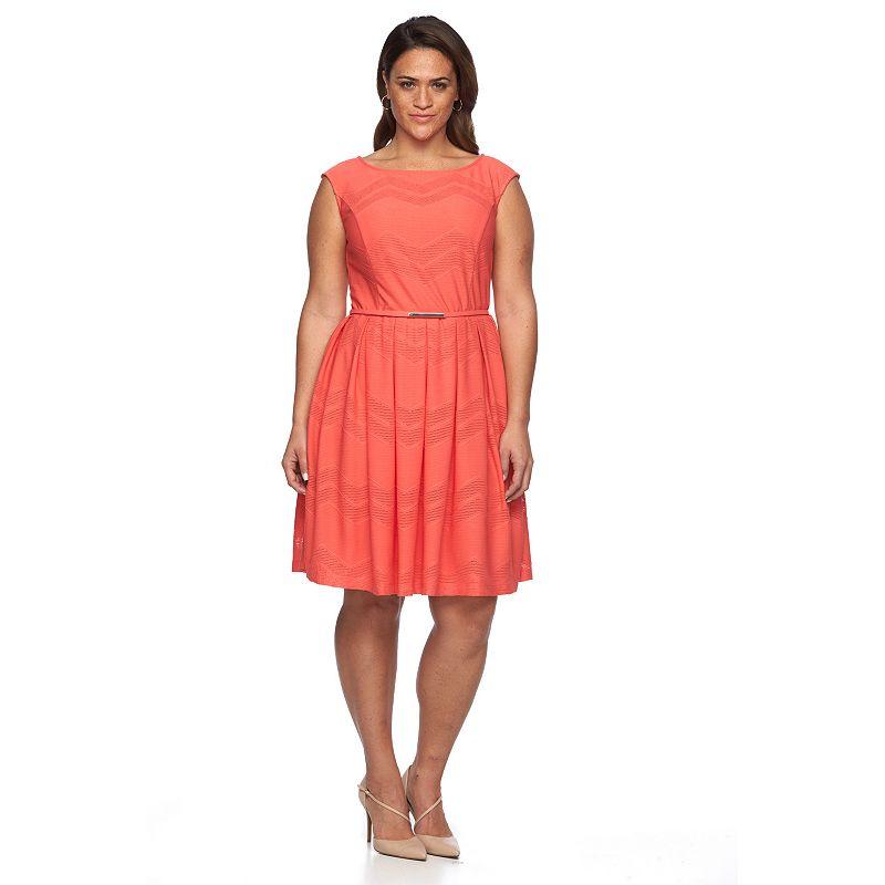 Plus Size Suite 7 Chevron Fit & Flare Dress