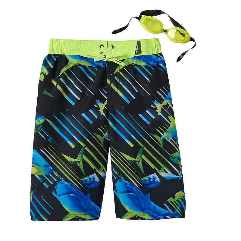 Boys 8-20 ZeroXposur Shark Fin Swim Shorts With Goggles