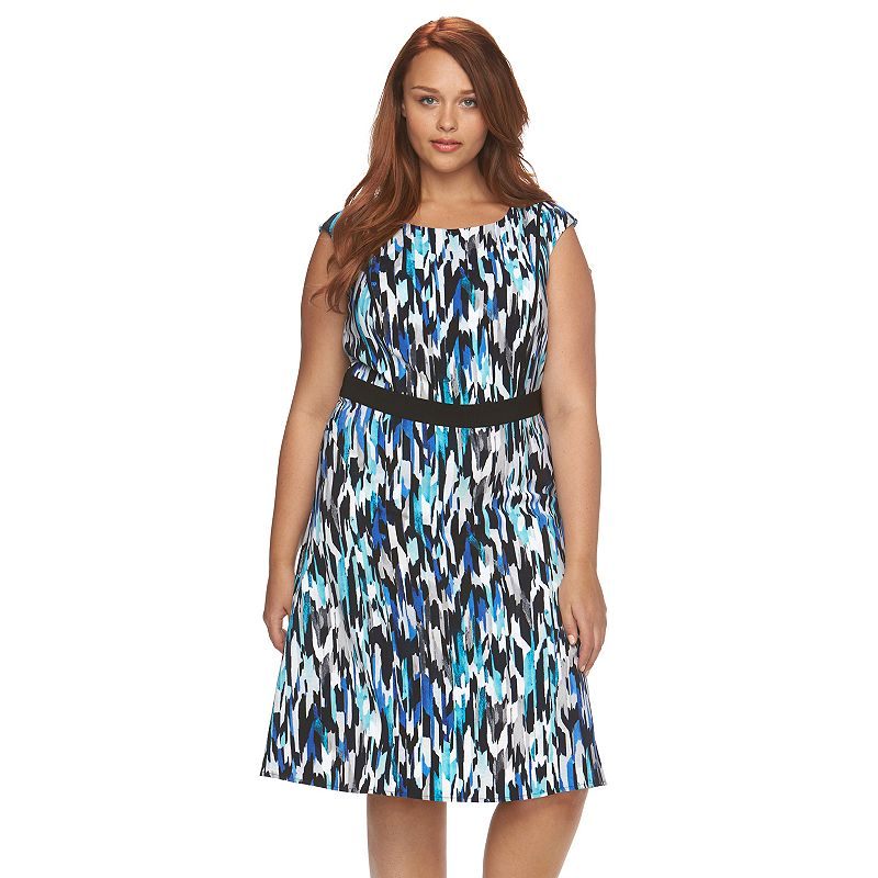Plus Size Suite 7 Watercolor Fit & Flare Dress