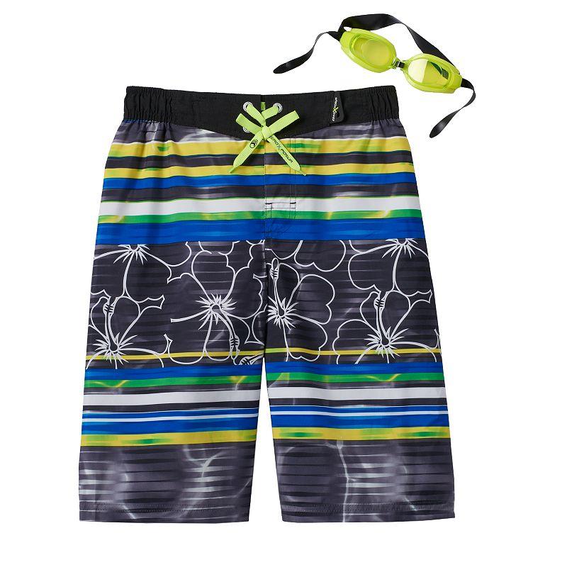Boys 8-20 ZeroXposur Luau Swim Shorts With Goggles
