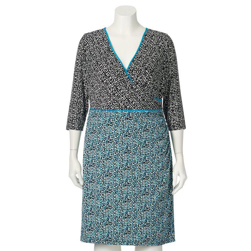 Plus Size Suite 7 Animal Faux-Wrap Dress