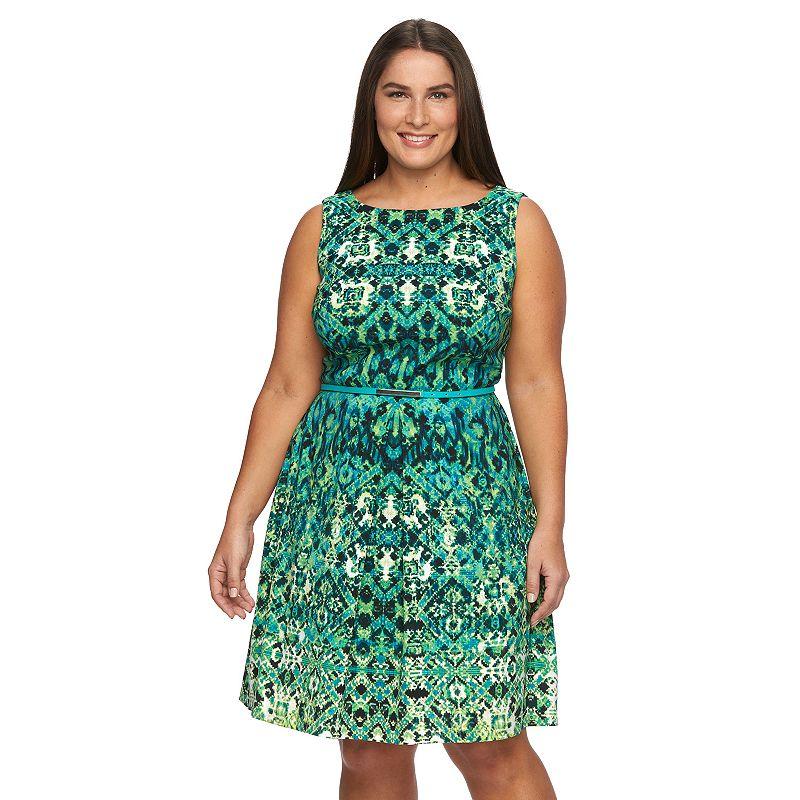 Plus Size Suite 7 Ikat Fit & Flare Dress