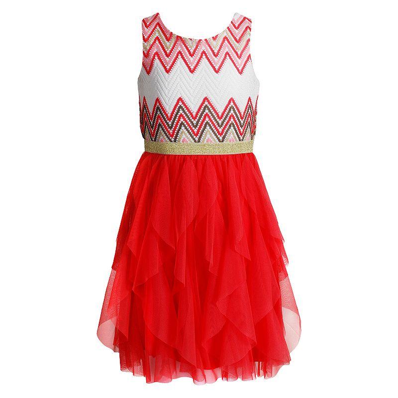 Girls 7-16 Emily West Chevron Ruffle Dress