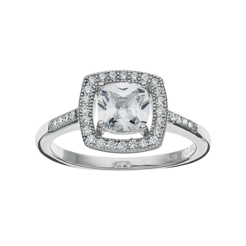 Cubic Zirconia Sterling Silver Square Halo Ring