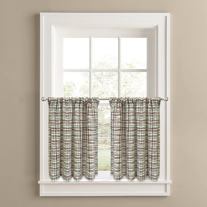 Colordrift Nature Plaid 2-pk. Tier Curtains