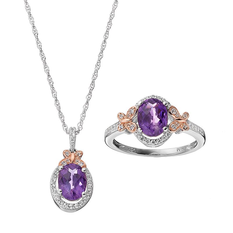 Amethyst & Lab-Created White Sapphire Sterling Silver Halo Pendant & Ring Set