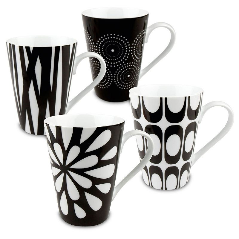 Konitz 4-pc. Black & White Mug Set