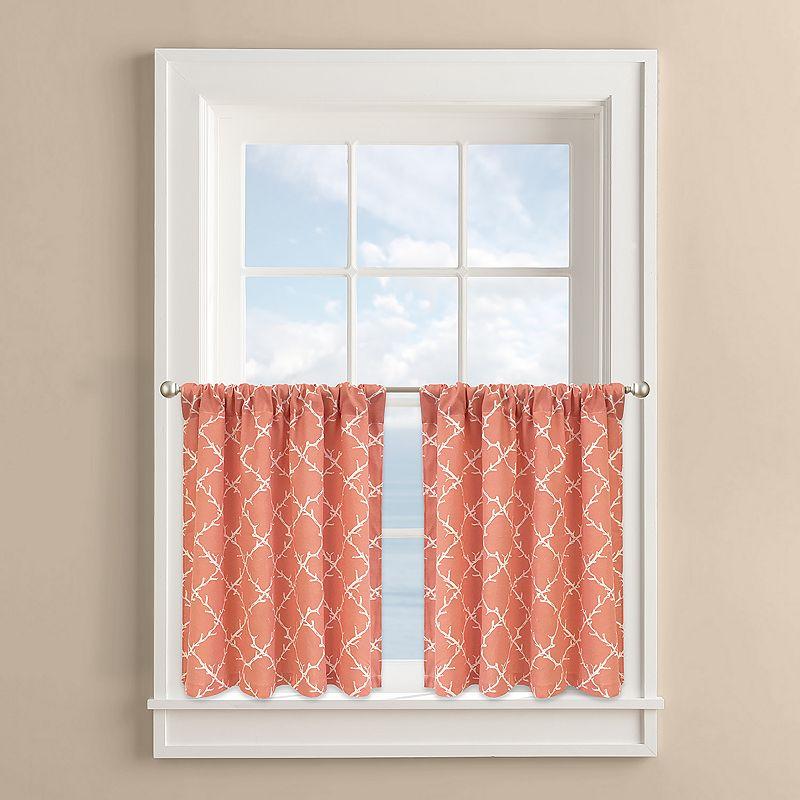 Colordrift Coral Lattice 2-pk. Tier Curtains