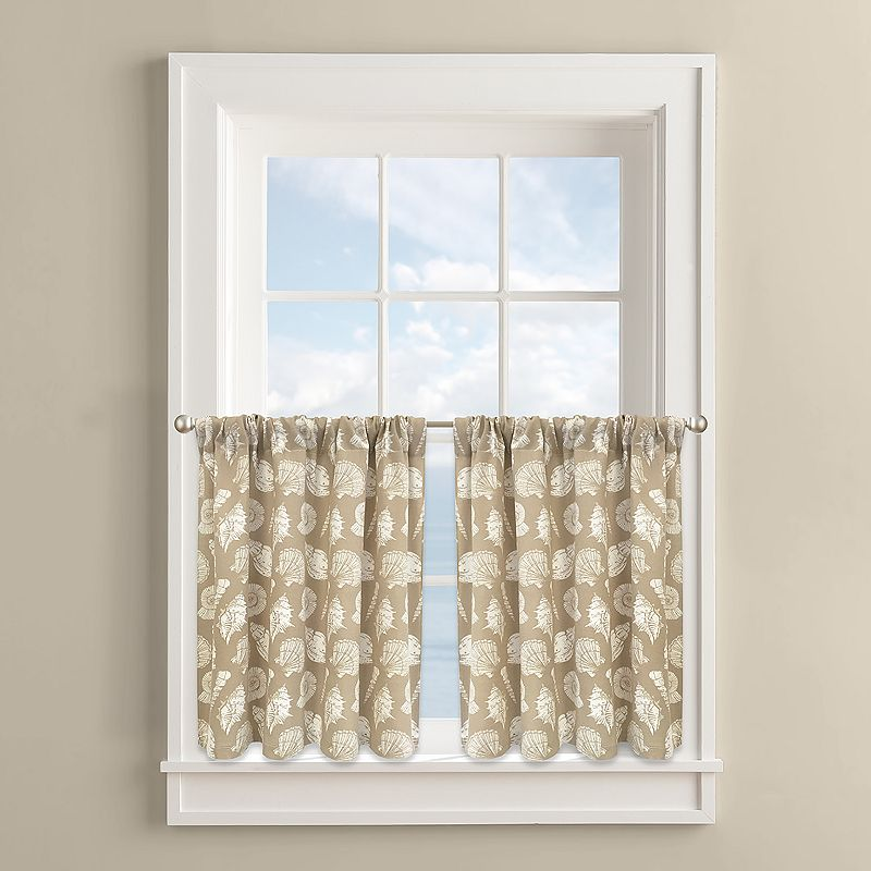 Colordrift Fossil Shells 2-pk. Tier Curtains