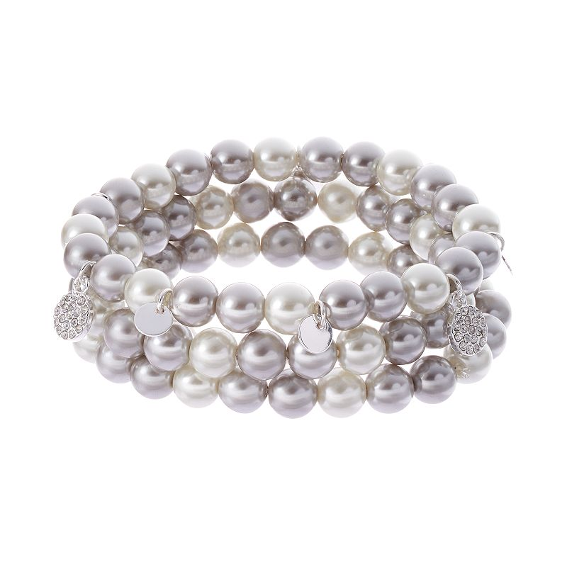 Chaps Simulated Pearl Stretch Bracelet Set