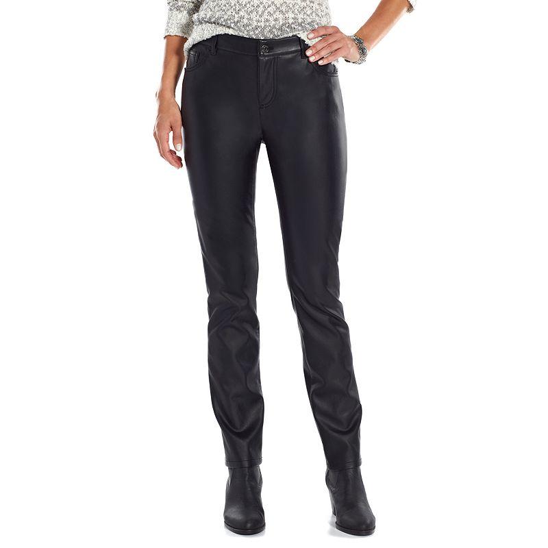 Chaps Faux-Leather Straight-Leg Pants - Women's