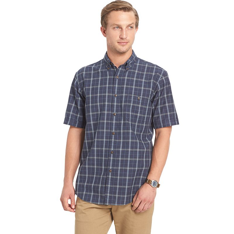 Men's Arrow Seaside Classic-Fit Plaid Textured Button-Down Shirt