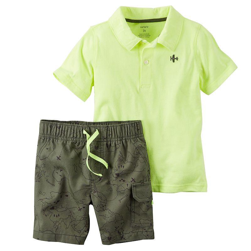 Toddler Boy Carter's Airplane Neon Polo & Shorts