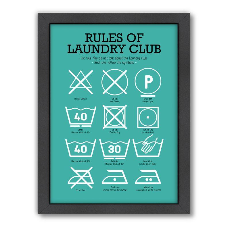 Americanflat Patricia Pino ''Rules of Laundry Club'' Framed Wall Art, Green thumbnail