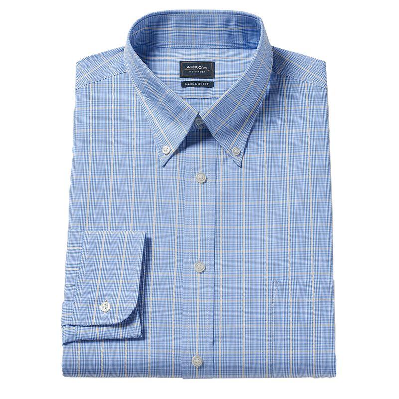 Men's Arrow Classic-Fit Grid Dress Shirt