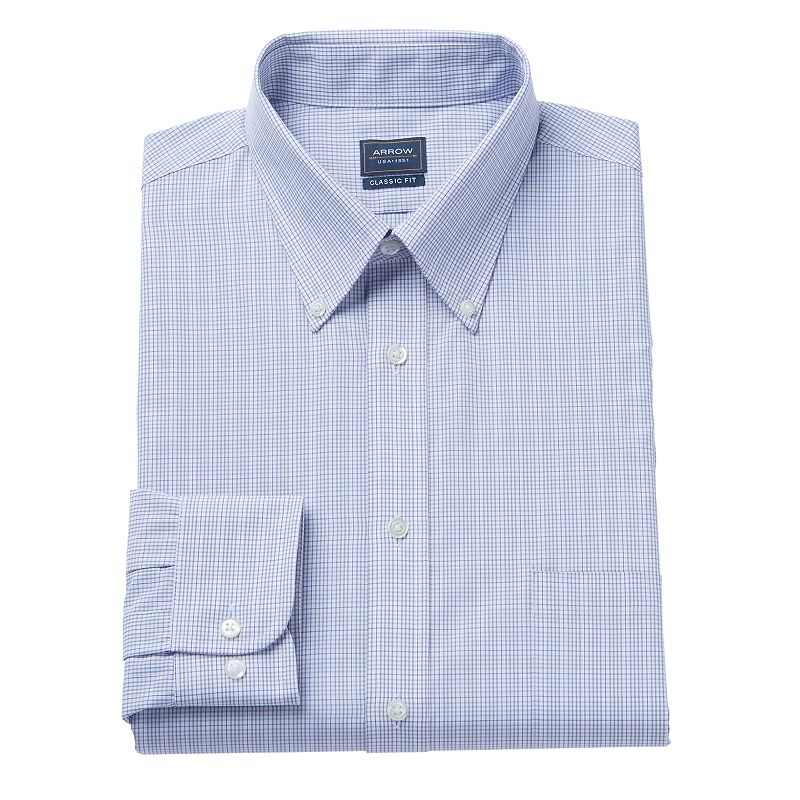 Men's Arrow Classic-Fit Grid Dress Shirt
