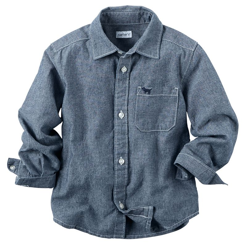 Carter 39 s toddler boy chambray button down shirt for Chambray shirt for kids