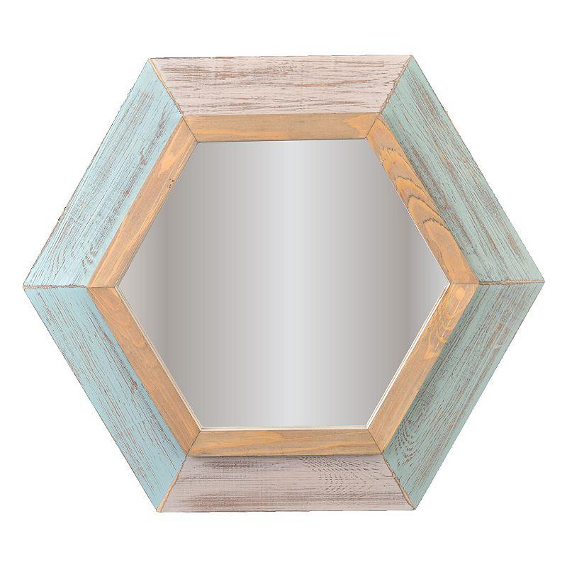 Hexagon Distressed Wall Mirror