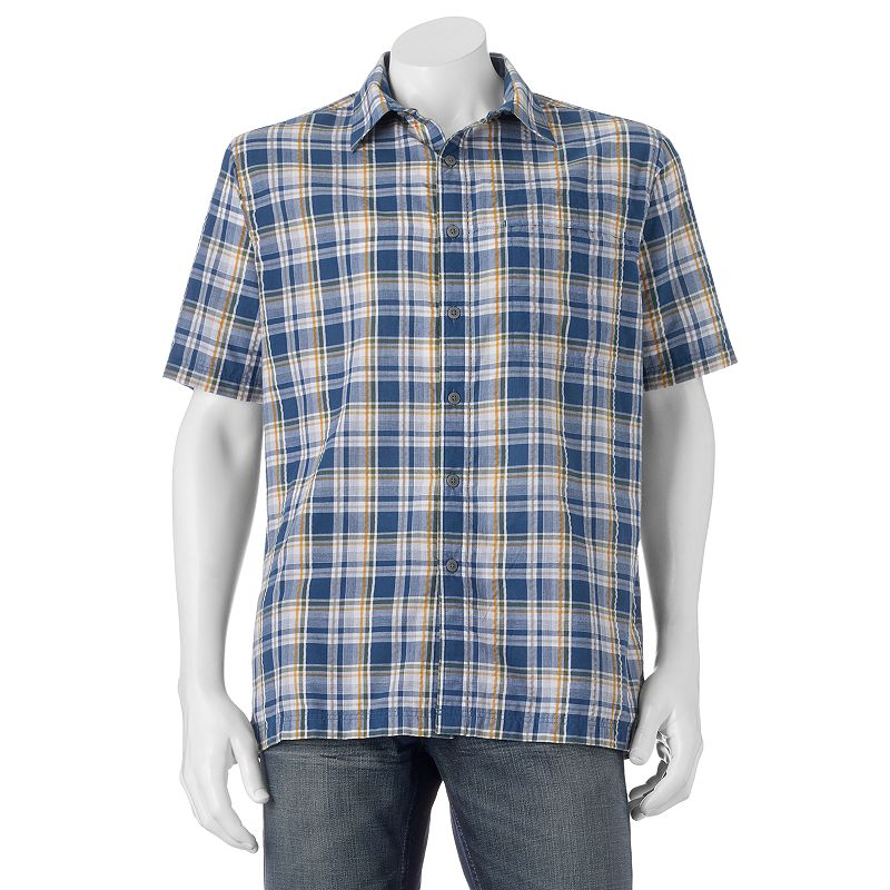 Men's Croft & Barrow® Quick-Dry Easy-Care Plaid Seersucker Button-Down Shirt
