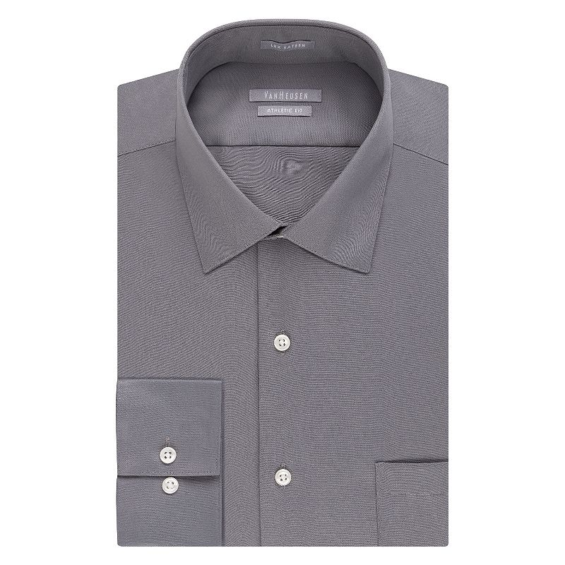 Men's Van Heusen Athletic-Fit Solid Lux Sateen No-Iron Spread-Collar Dress Shirt