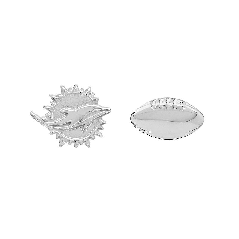 Miami Dolphins Team Logo & Football Mismatch Stud Earrings