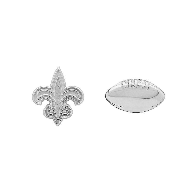 New Orleans Saints Team Logo & Football Mismatch Stud Earrings