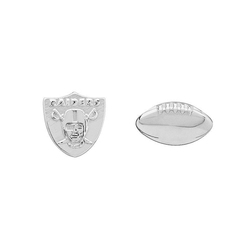 Oakland Raiders Team Logo & Football Mismatch Stud Earrings